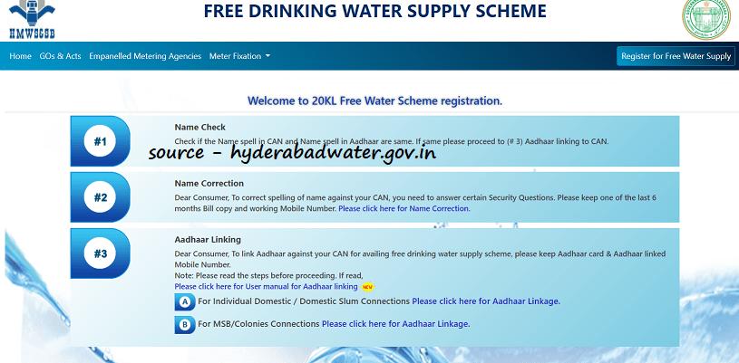 HMWSSB Free Water Apply