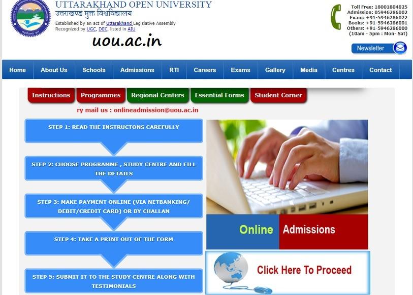 UOU Admission Process 2021